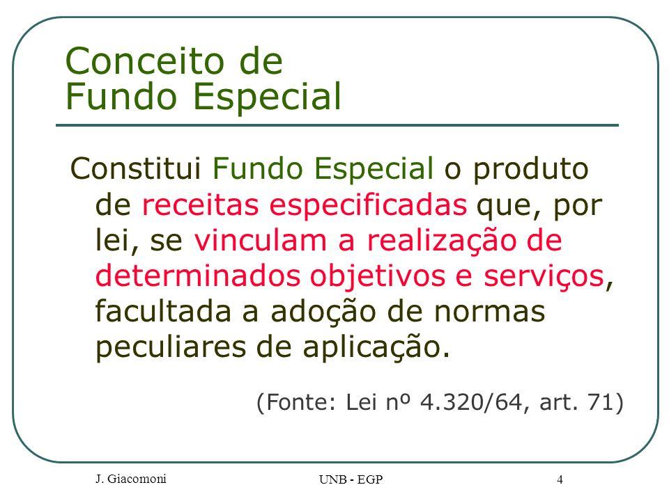 J. Giacomoni UNB - EGP 4 Conceito de Fundo Especial Constitui Fundo Especial o produto de receitas especificadas que, por lei, se vinculam a realizaçã