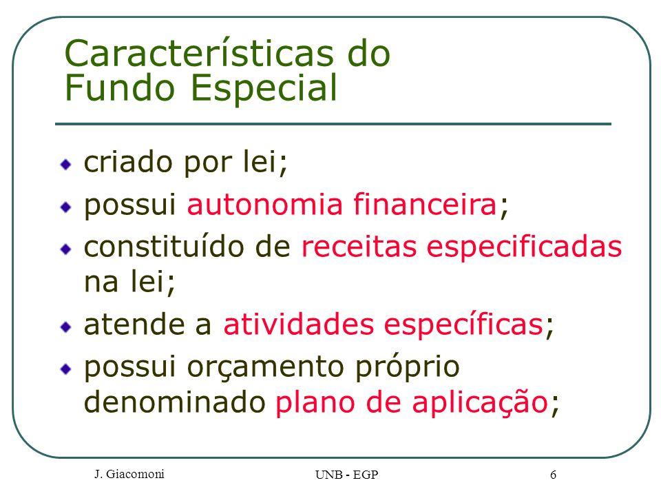 J. Giacomoni UNB - EGP 6 Características do Fundo Especial criado por lei; possui autonomia financeira; constituído de receitas especificadas na lei;