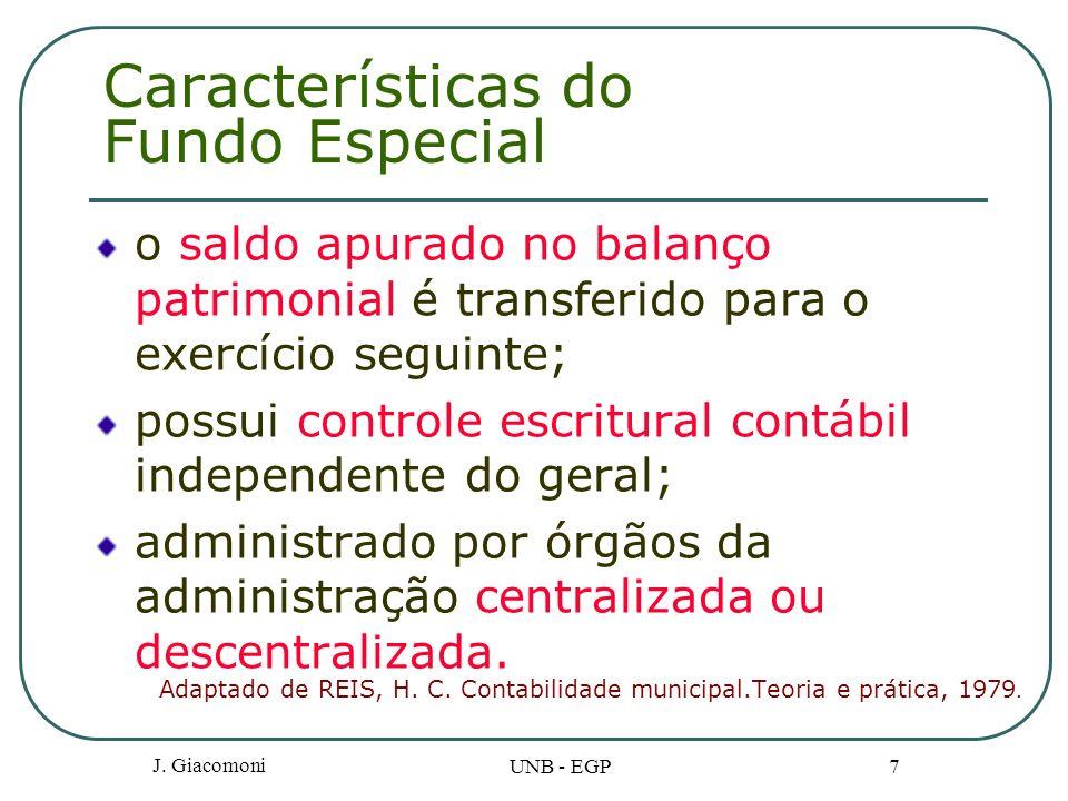 Características do Fundo Especial o saldo apurado no balanço patrimonial é transferido para o exercício seguinte; possui controle escritural contábil