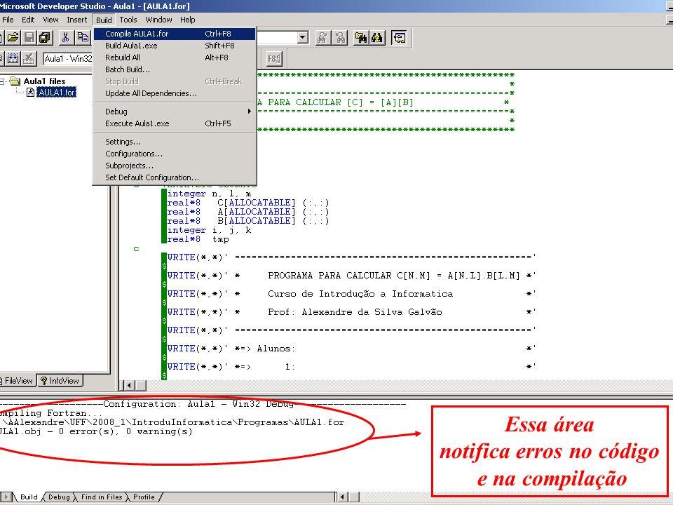 Essa área notifica erros no código e na compilação