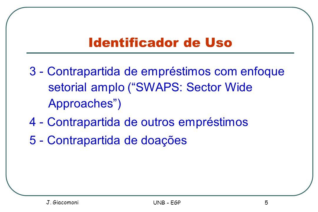 Identificador de Uso 3 - Contrapartida de empréstimos com enfoque setorial amplo (SWAPS: Sector Wide Approaches) 4 - Contrapartida de outros empréstim
