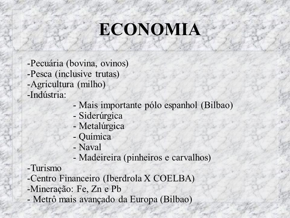 -Pecuária (bovina, ovinos) -Pesca (inclusive trutas) -Agricultura (milho) -Indústria: - Mais importante pólo espanhol (Bilbao) - Siderúrgica - Metalúr