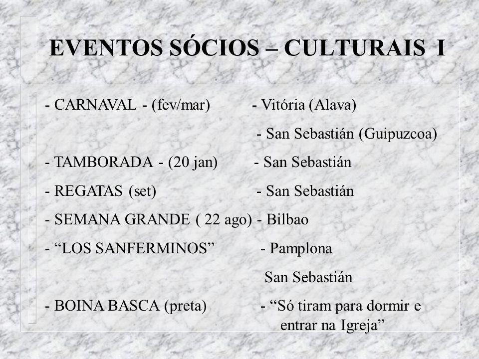 EVENTOS SÓCIOS – CULTURAIS I - CARNAVAL - (fev/mar) - Vitória (Alava) - San Sebastián (Guipuzcoa) - TAMBORADA - (20 jan) - San Sebastián - REGATAS (se