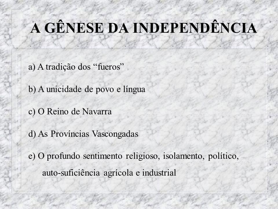 a) A tradição dos fueros b) A unicidade de povo e língua c) O Reino de Navarra d) As Províncias Vascongadas e) O profundo sentimento religioso, isolam