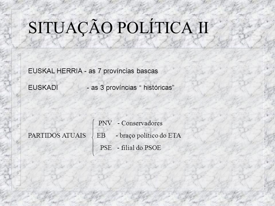 EUSKAL HERRIA - as 7 províncias bascas EUSKADI - as 3 províncias históricas PNV - Conservadores PARTIDOS ATUAIS EB - braço político do ETA PSE - filia