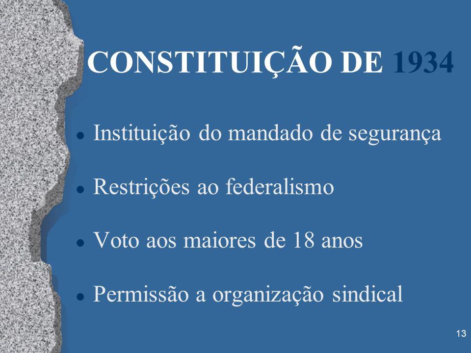 13 CONSTITUIÇÃO DE 1934 l Instituição do mandado de segurança l Restrições ao federalismo l Voto aos maiores de 18 anos l Permissão a organização sind