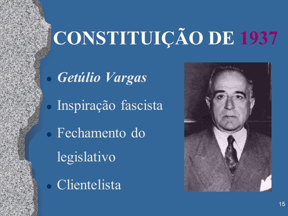 15 CONSTITUIÇÃO DE 1937 l Getúlio Vargas l Inspiração fascista l Fechamento do legislativo l Clientelista