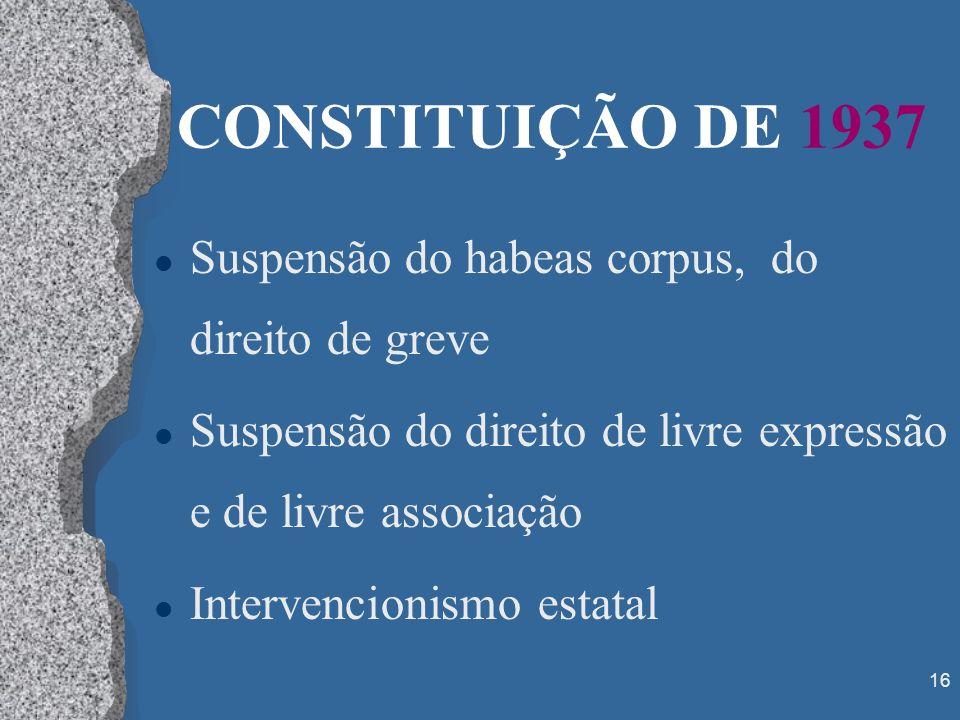 16 CONSTITUIÇÃO DE 1937 l Suspensão do habeas corpus, do direito de greve l Suspensão do direito de livre expressão e de livre associação l Intervenci