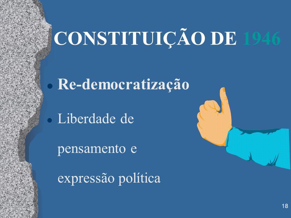 18 CONSTITUIÇÃO DE 1946 l Re-democratização l Liberdade de pensamento e expressão política
