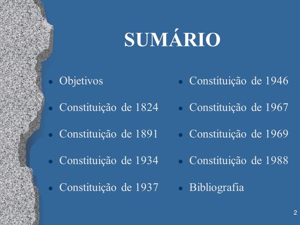 2 SUMÁRIO l Objetivos l Constituição de 1824 l Constituição de 1891 l Constituição de 1934 l Constituição de 1937 l Constituição de 1946 l Constituiçã