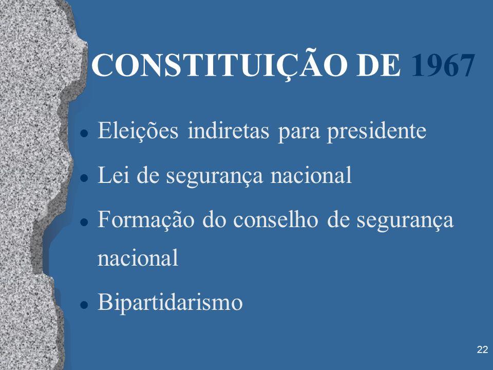 22 CONSTITUIÇÃO DE 1967 l Eleições indiretas para presidente l Lei de segurança nacional l Formação do conselho de segurança nacional l Bipartidarismo