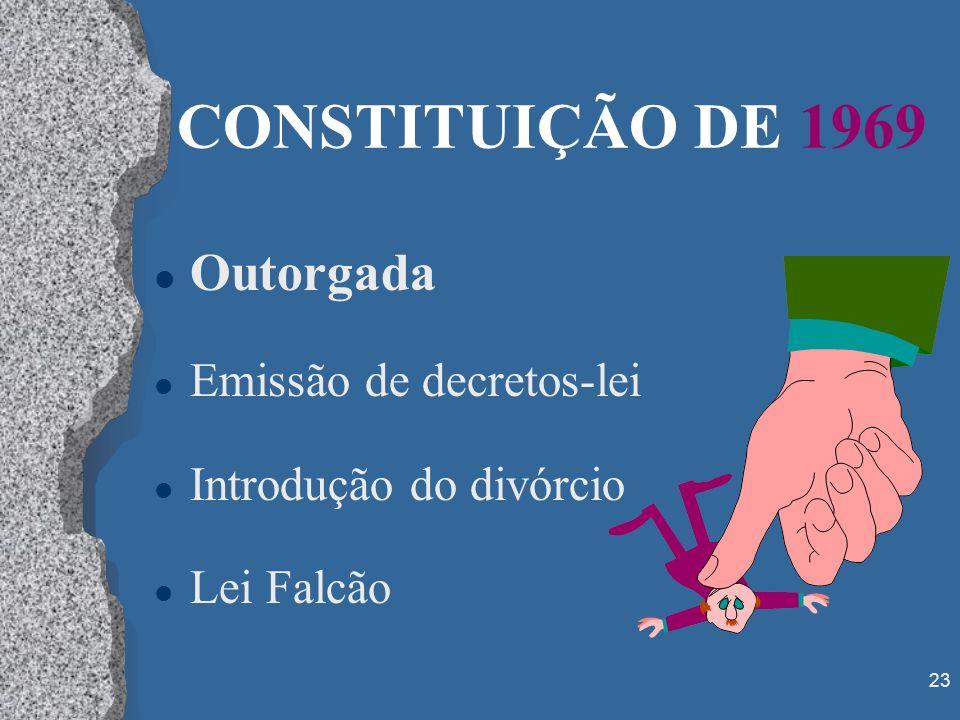 23 CONSTITUIÇÃO DE 1969 l Outorgada l Emissão de decretos-lei l Introdução do divórcio l Lei Falcão