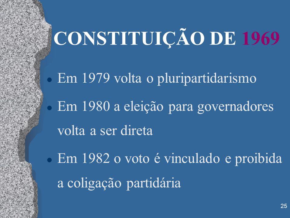 25 CONSTITUIÇÃO DE 1969 l Em 1979 volta o pluripartidarismo l Em 1980 a eleição para governadores volta a ser direta l Em 1982 o voto é vinculado e pr