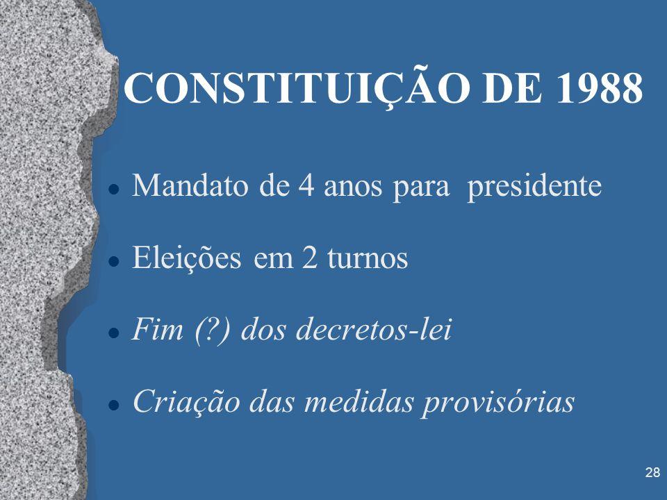 28 CONSTITUIÇÃO DE 1988 l Mandato de 4 anos para presidente l Eleições em 2 turnos l Fim (?) dos decretos-lei l Criação das medidas provisórias