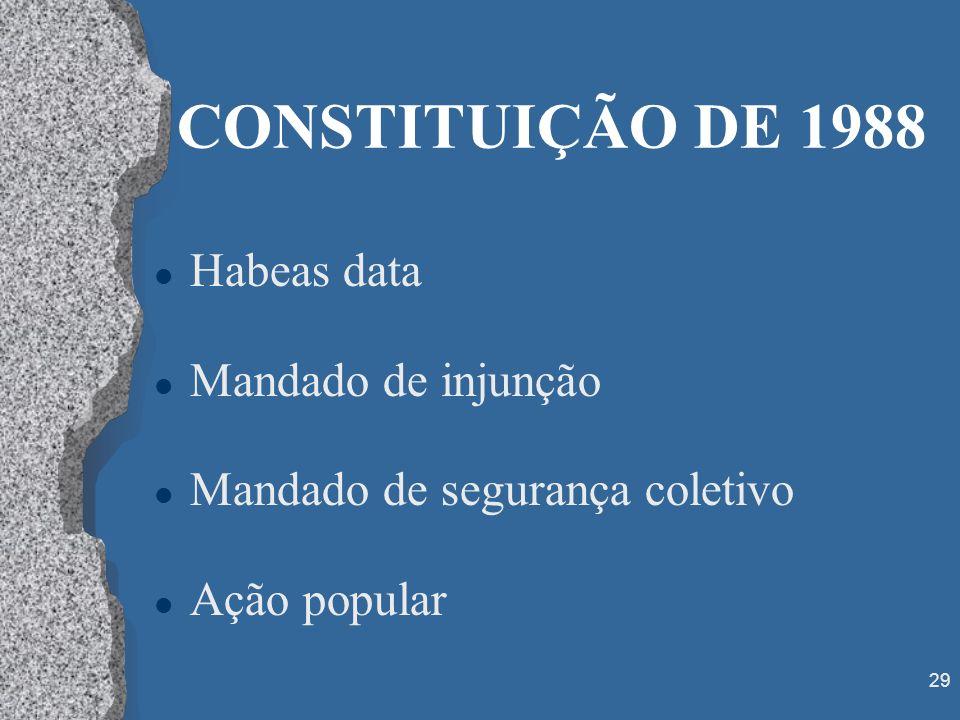 29 CONSTITUIÇÃO DE 1988 l Habeas data l Mandado de injunção l Mandado de segurança coletivo l Ação popular