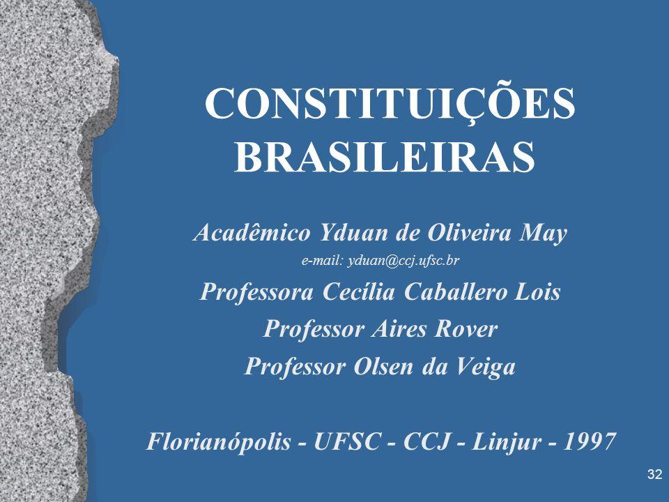 32 CONSTITUIÇÕES BRASILEIRAS Acadêmico Yduan de Oliveira May e-mail: yduan@ccj.ufsc.br Professora Cecília Caballero Lois Professor Aires Rover Profess