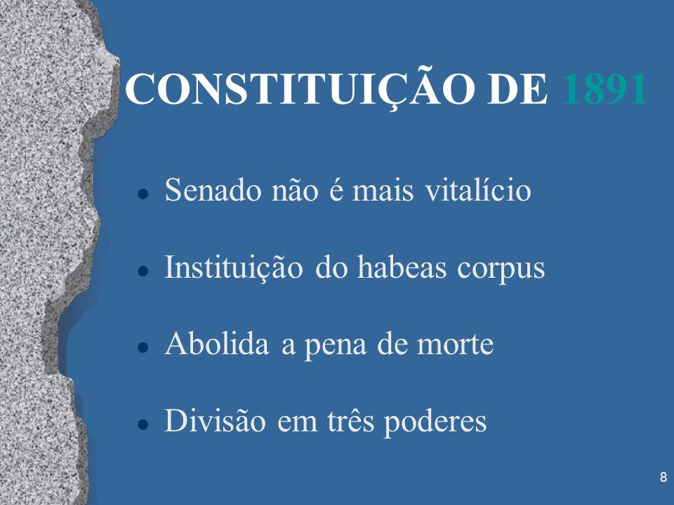8 CONSTITUIÇÃO DE 1891 l Senado não é mais vitalício l Instituição do habeas corpus l Abolida a pena de morte l Divisão em três poderes
