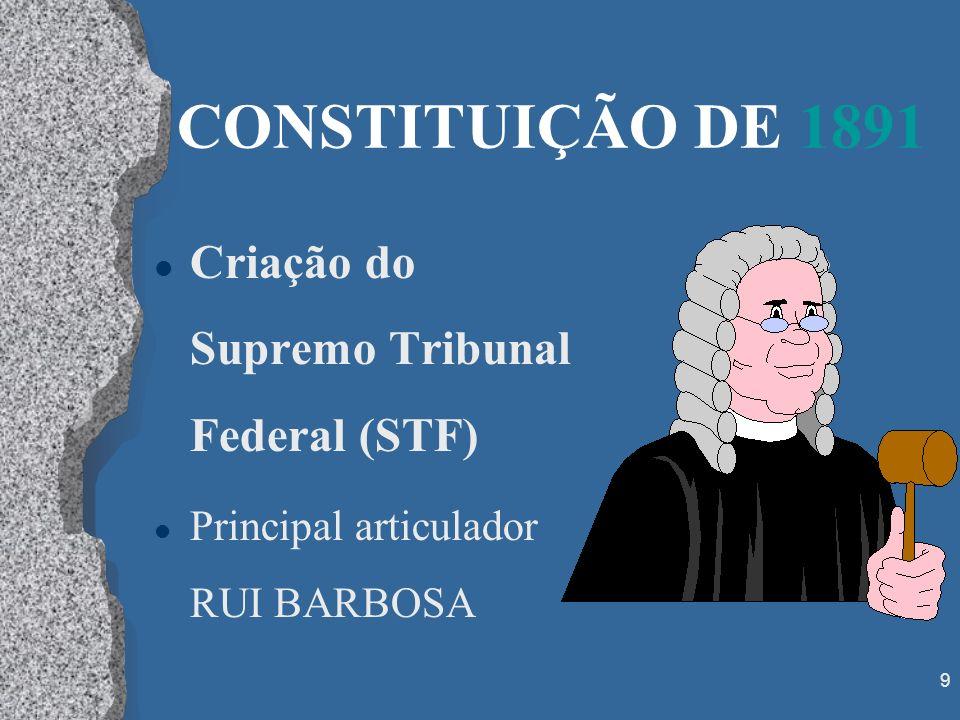9 CONSTITUIÇÃO DE 1891 l Criação do Supremo Tribunal Federal (STF) l Principal articulador RUI BARBOSA
