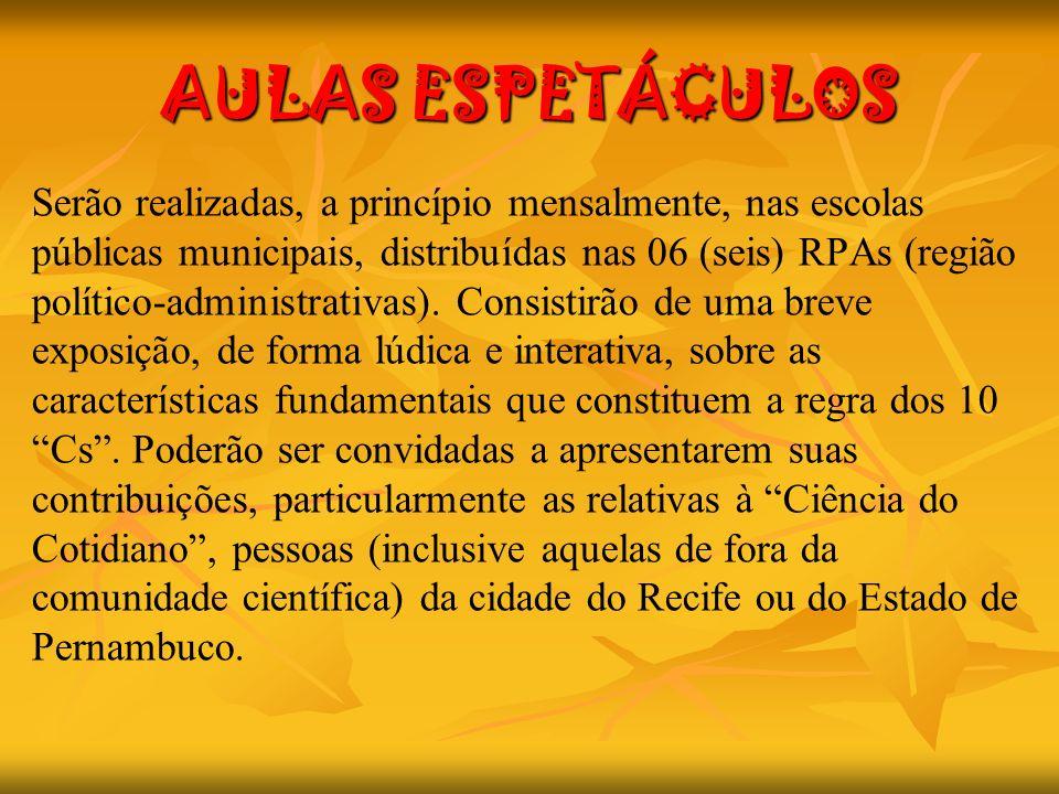 AULAS ESPETÁCULOS Serão realizadas, a princípio mensalmente, nas escolas públicas municipais, distribuídas nas 06 (seis) RPAs (região político-adminis