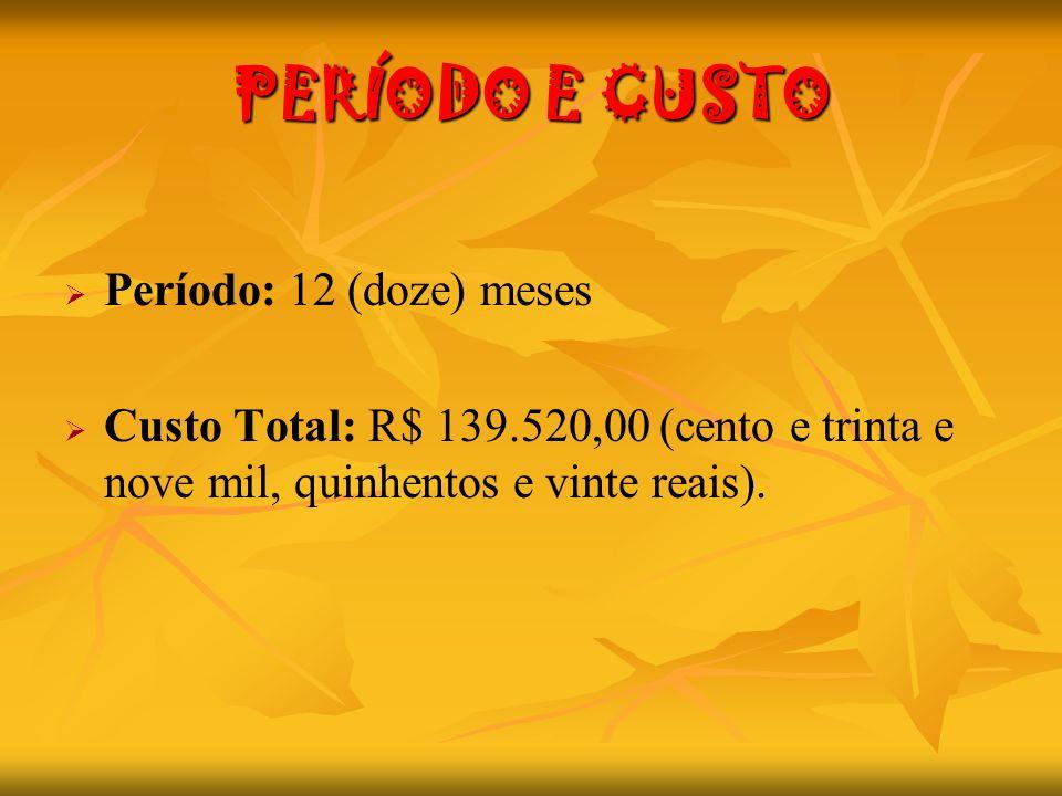 PERÍODO E CUSTO Período: 12 (doze) meses Custo Total: R$ 139.520,00 (cento e trinta e nove mil, quinhentos e vinte reais).