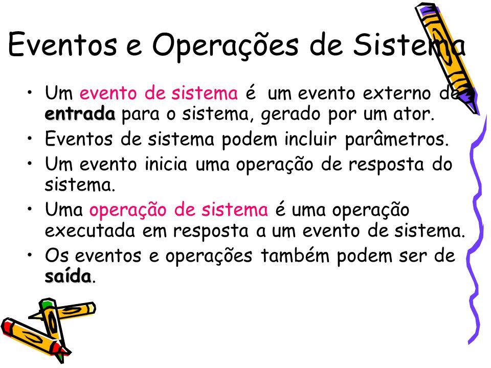 Eventos e Operações de Sistema entradaUm evento de sistema é um evento externo de entrada para o sistema, gerado por um ator. Eventos de sistema podem