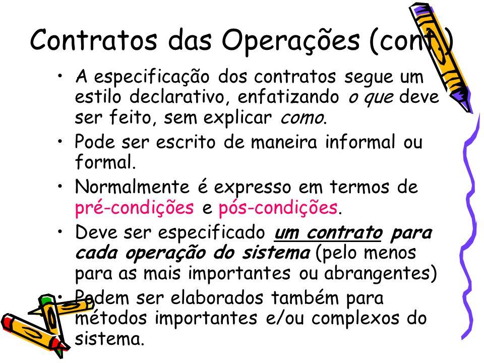 Contratos das Operações Características típicas de um contrato: –Nome da operação e Parâmetros de entrada –Objetivos (ou responsabilidade) – Tipo (responsável pela operação) –Notas e Exceções –Referências cruzadas –Pré-condições –Pós-condições