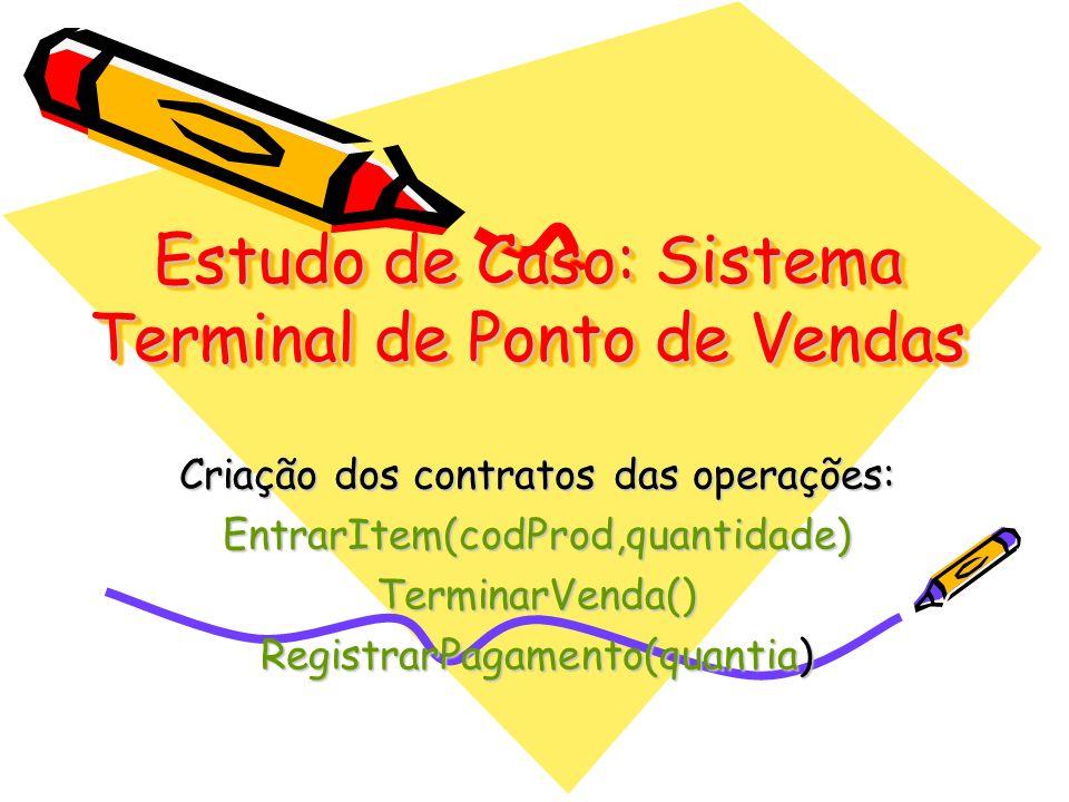 Estudo de Caso: Sistema Terminal de Ponto de Vendas Criação dos contratos das operações: EntrarItem(codProd,quantidade)TerminarVenda() RegistrarPagame