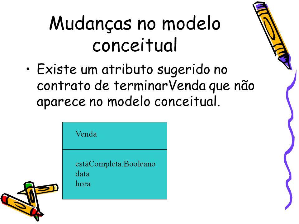 Mudanças no modelo conceitual Existe um atributo sugerido no contrato de terminarVenda que não aparece no modelo conceitual. Venda estáCompleta:Boolea