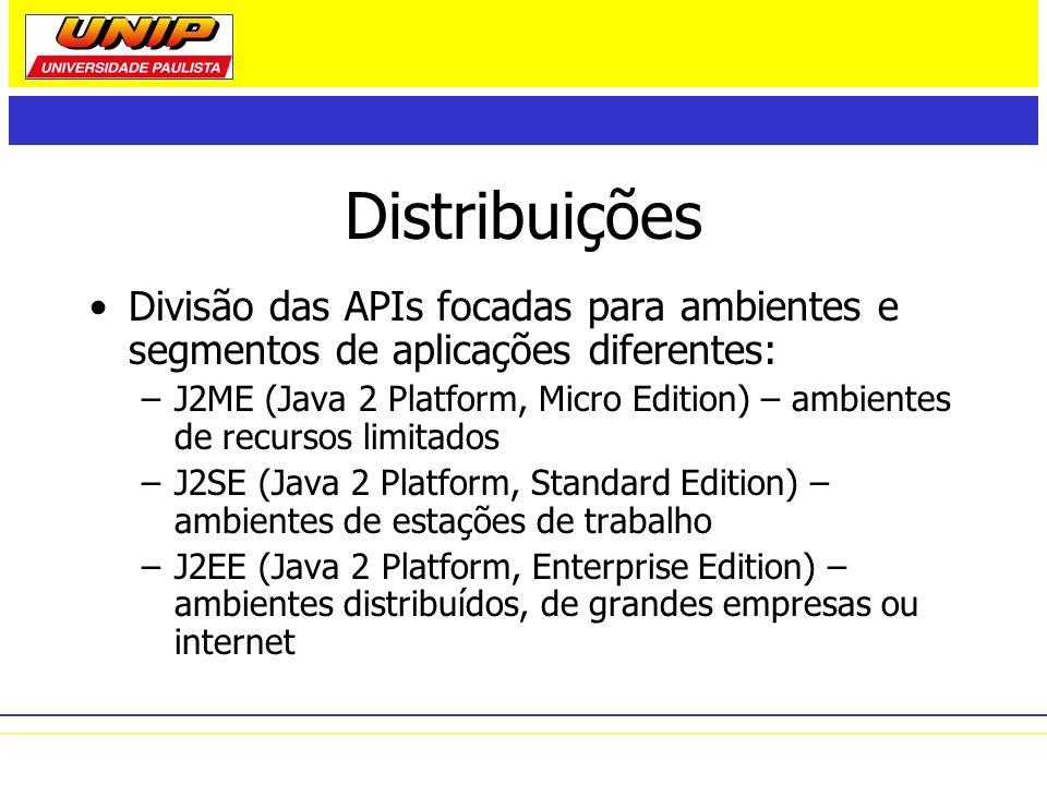 Distribuições Divisão das APIs focadas para ambientes e segmentos de aplicações diferentes: –J2ME (Java 2 Platform, Micro Edition) – ambientes de recu