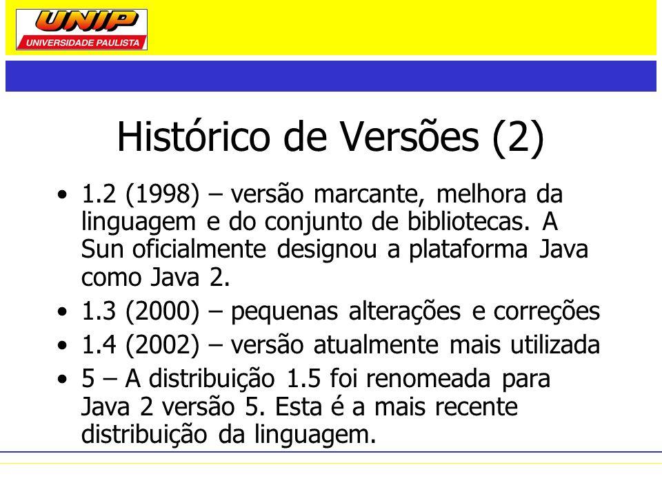 Histórico de Versões (2) 1.2 (1998) – versão marcante, melhora da linguagem e do conjunto de bibliotecas. A Sun oficialmente designou a plataforma Jav