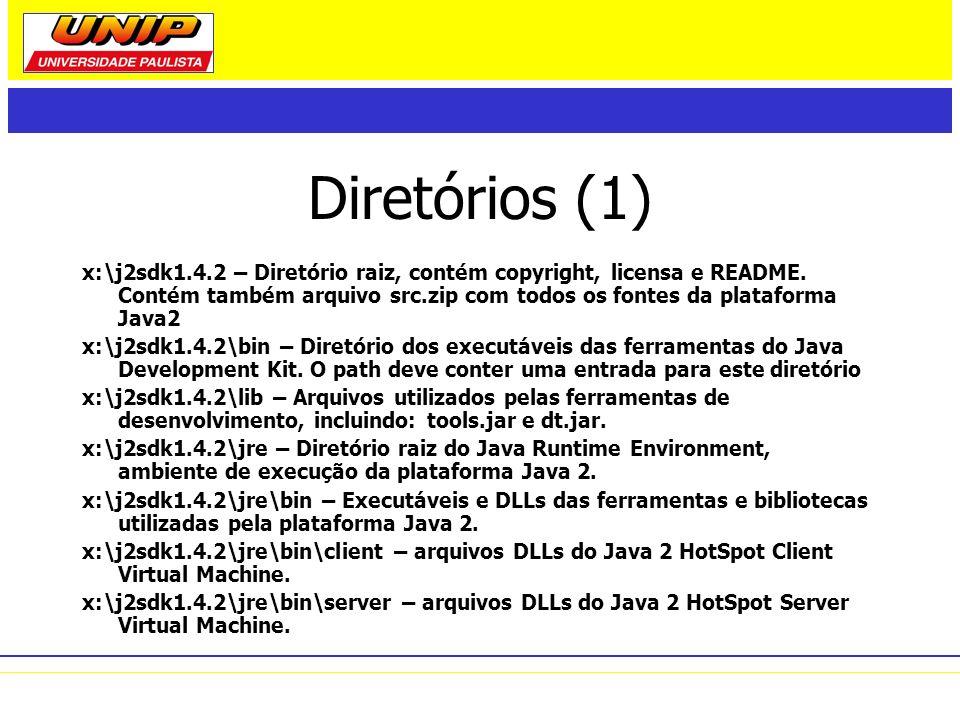 Diretórios (1) x:\j2sdk1.4.2 – Diretório raiz, contém copyright, licensa e README. Contém também arquivo src.zip com todos os fontes da plataforma Jav