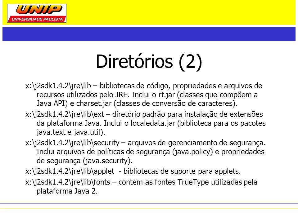 Diretórios (2) x:\j2sdk1.4.2\jre\lib – bibliotecas de código, propriedades e arquivos de recursos utilizados pelo JRE. Inclui o rt.jar (classes que co