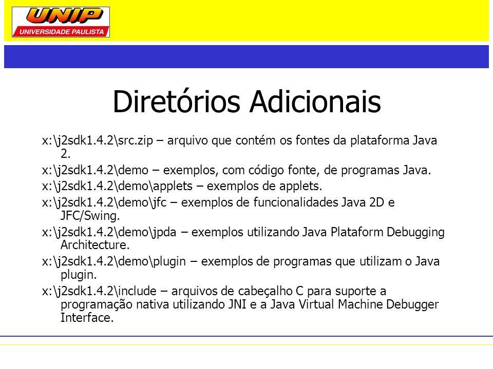 Diretórios Adicionais x:\j2sdk1.4.2\src.zip – arquivo que contém os fontes da plataforma Java 2. x:\j2sdk1.4.2\demo – exemplos, com código fonte, de p