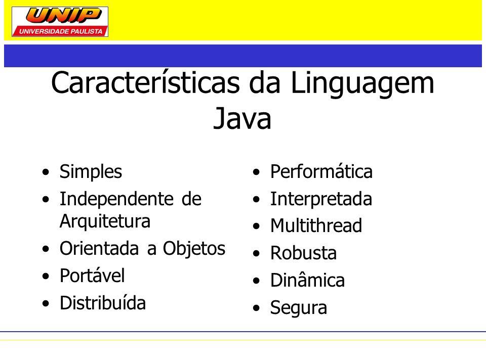 Características da Linguagem Java Simples Independente de Arquitetura Orientada a Objetos Portável Distribuída Performática Interpretada Multithread R