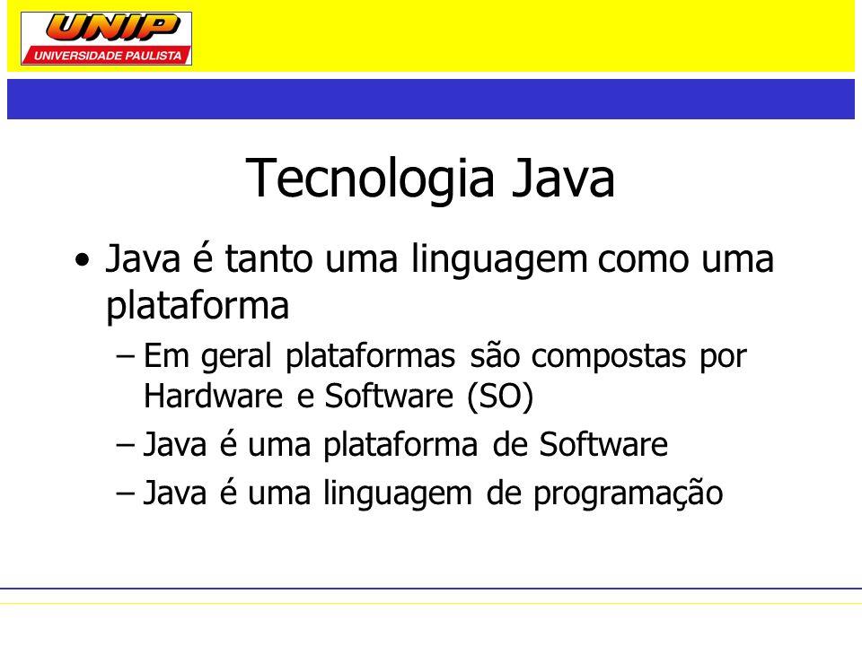 Tecnologia Java Java é tanto uma linguagem como uma plataforma –Em geral plataformas são compostas por Hardware e Software (SO) –Java é uma plataforma