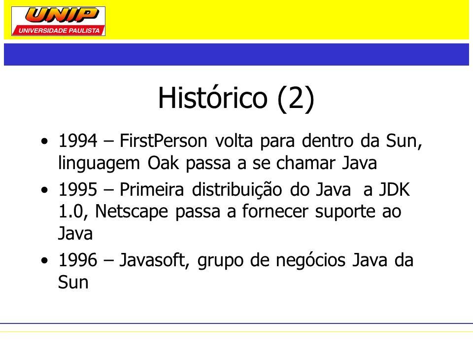 Histórico (2) 1994 – FirstPerson volta para dentro da Sun, linguagem Oak passa a se chamar Java 1995 – Primeira distribuição do Java a JDK 1.0, Netsca