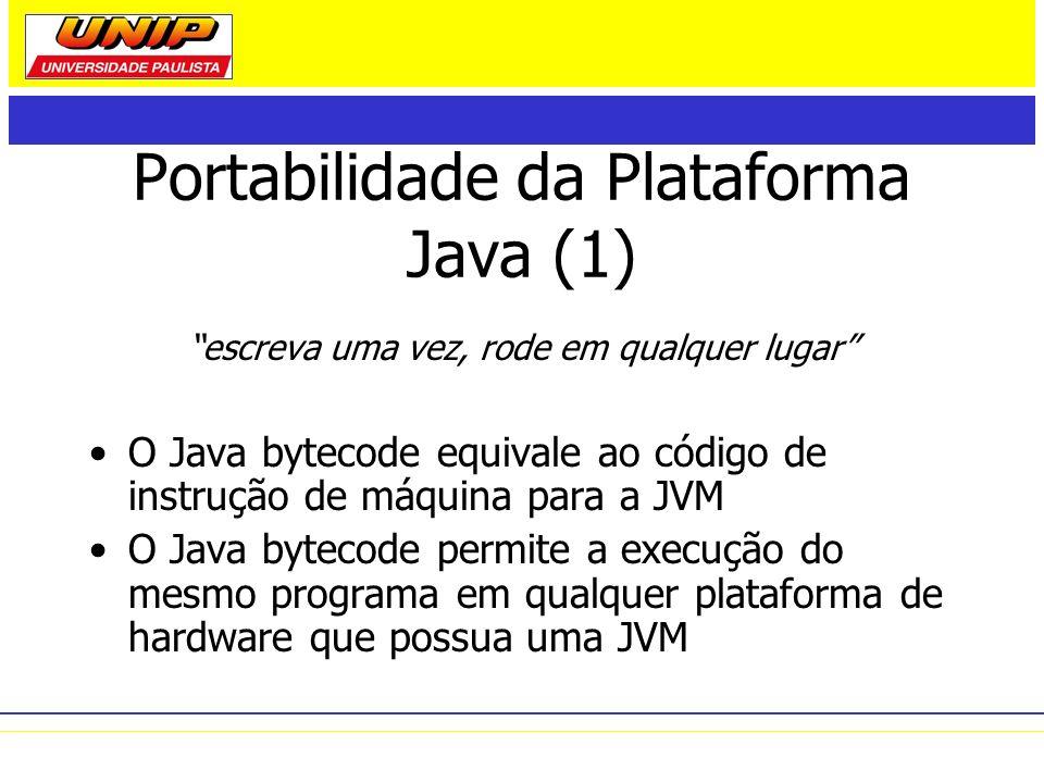 Portabilidade da Plataforma Java (1) escreva uma vez, rode em qualquer lugar O Java bytecode equivale ao código de instrução de máquina para a JVM O J