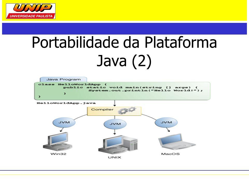 Distribuições Divisão das APIs focadas para ambientes e segmentos de aplicações diferentes: –J2ME (Java 2 Platform, Micro Edition) – ambientes de recursos limitados –J2SE (Java 2 Platform, Standard Edition) – ambientes de estações de trabalho –J2EE (Java 2 Platform, Enterprise Edition) – ambientes distribuídos, de grandes empresas ou internet