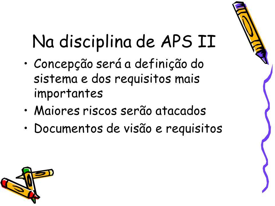 Na disciplina de APS II Concepção será a definição do sistema e dos requisitos mais importantes Maiores riscos serão atacados Documentos de visão e re
