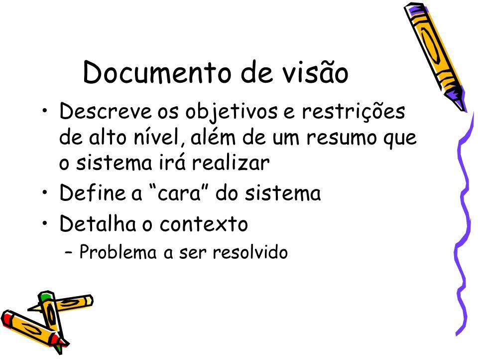 Documento de visão Descreve os objetivos e restrições de alto nível, além de um resumo que o sistema irá realizar Define a cara do sistema Detalha o c
