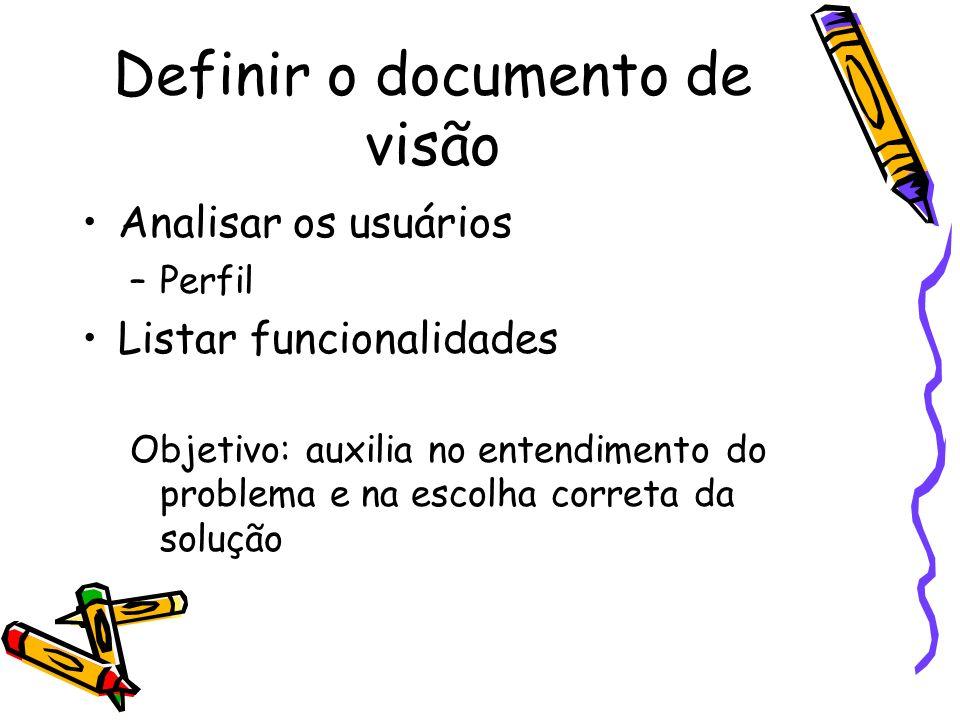 Definir o documento de visão Analisar os usuários –Perfil Listar funcionalidades Objetivo: auxilia no entendimento do problema e na escolha correta da