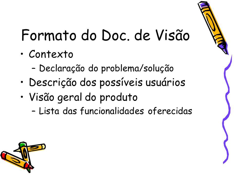 Formato do Doc. de Visão Contexto –Declaração do problema/solução Descrição dos possíveis usuários Visão geral do produto –Lista das funcionalidades o