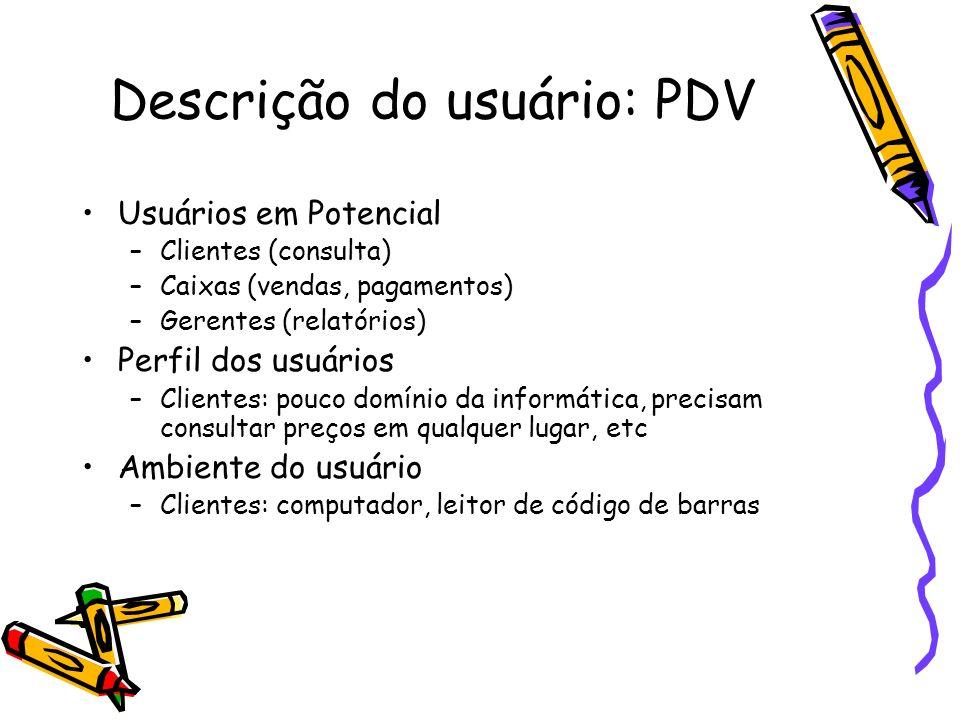 Descrição do usuário: PDV Usuários em Potencial –Clientes (consulta) –Caixas (vendas, pagamentos) –Gerentes (relatórios) Perfil dos usuários –Clientes
