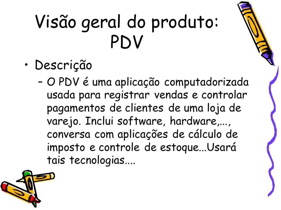 Visão geral do produto: PDV Descrição –O PDV é uma aplicação computadorizada usada para registrar vendas e controlar pagamentos de clientes de uma loj