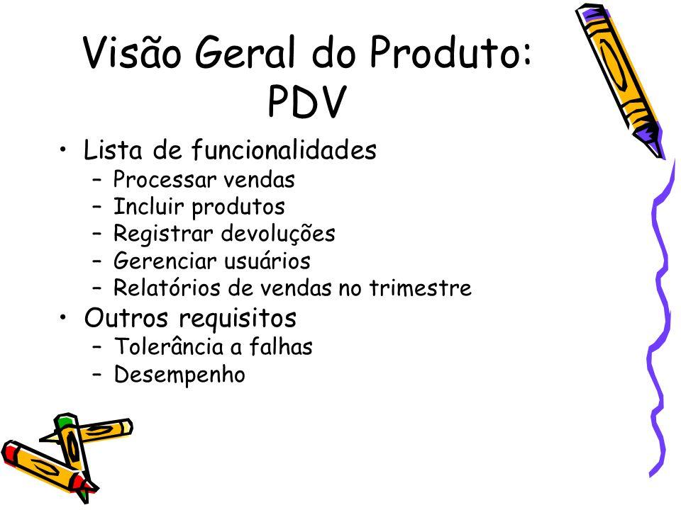 Visão Geral do Produto: PDV Lista de funcionalidades –Processar vendas –Incluir produtos –Registrar devoluções –Gerenciar usuários –Relatórios de vend