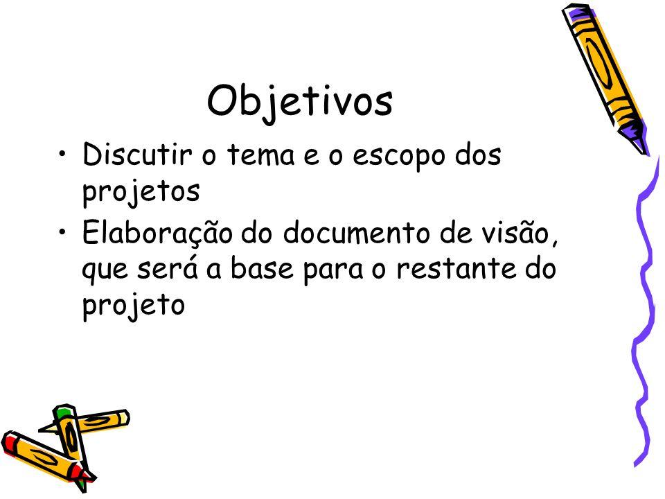 Objetivos Discutir o tema e o escopo dos projetos Elaboração do documento de visão, que será a base para o restante do projeto
