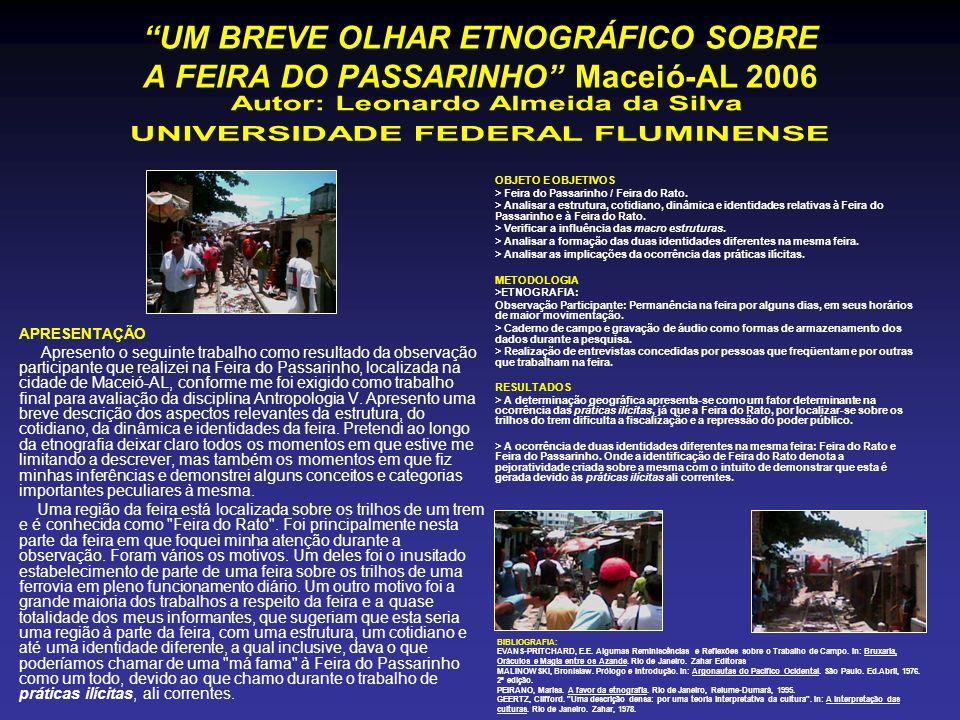 UM BREVE OLHAR ETNOGRÁFICO SOBRE A FEIRA DO PASSARINHO Maceió-AL 2006 APRESENTAÇÃO Apresento o seguinte trabalho como resultado da observação particip