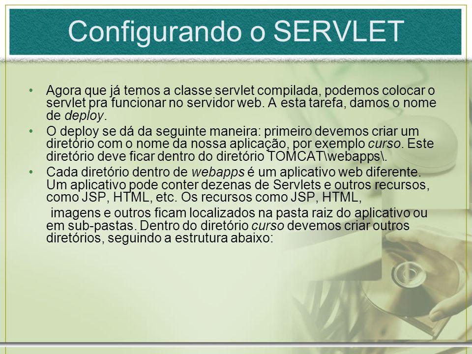 Configurando o SERVLET Agora que já temos a classe servlet compilada, podemos colocar o servlet pra funcionar no servidor web. A esta tarefa, damos o