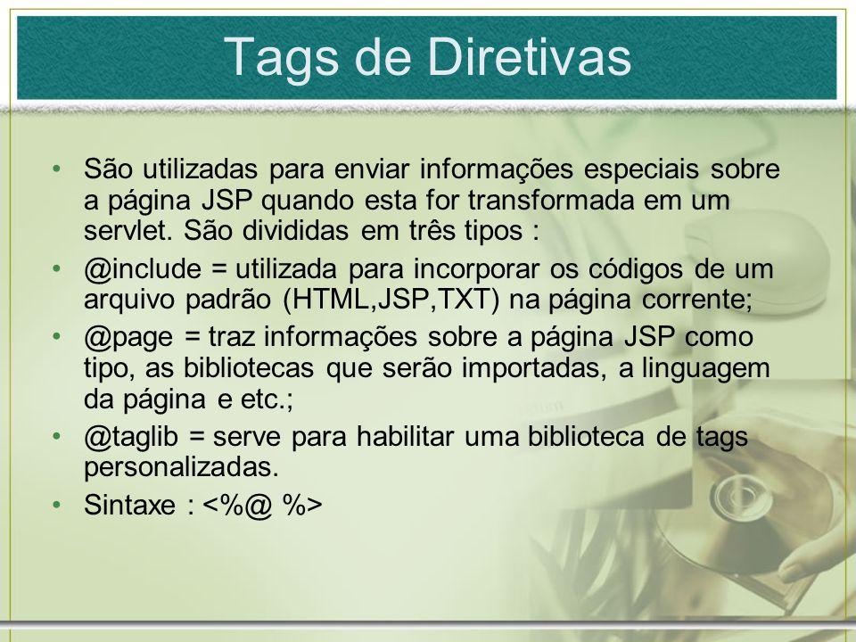 Tags de Diretivas São utilizadas para enviar informações especiais sobre a página JSP quando esta for transformada em um servlet. São divididas em trê