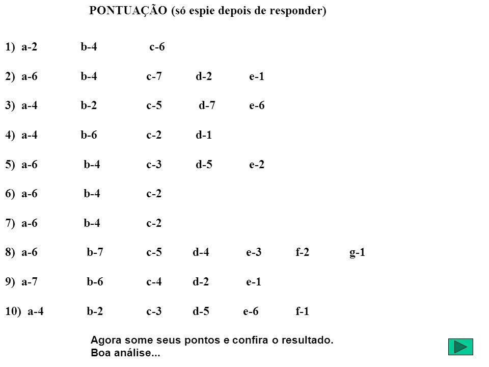 PONTUAÇÃO (só espie depois de responder) 1) a-2 b-4 c-6 2) a-6 b-4 c-7 d-2 e-1 3) a-4 b-2 c-5 d-7 e-6 4) a-4 b-6 c-2 d-1 5) a-6 b-4 c-3 d-5 e-2 6) a-6